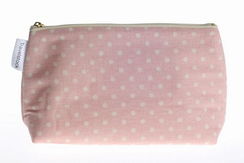 Make-up Bag zipped in Natural Cotton - Small Dots Pink