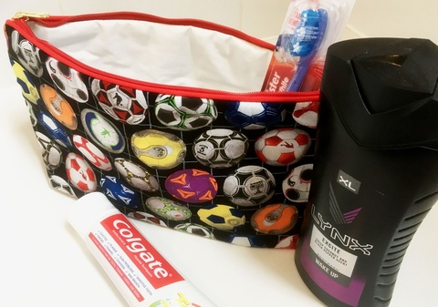 Kids Cotton Wash Bag - Footballs Multicoloured