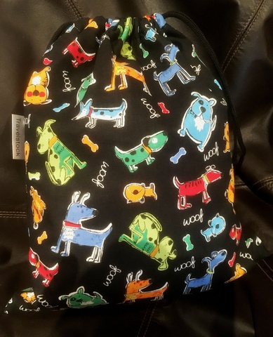 Kids Cotton Wash Bag Drawstring small - Dogs and Bones