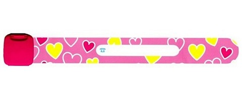 Infoband I.D. Travel Wrist Band for kids - Hearts/Pink
